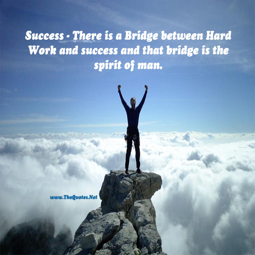 Motivational Quotes About Success: There Is A Bridge Between Hard... : Success Image